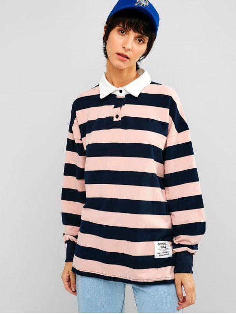 Camiseta de túnica a rayas suelta con hombros caídos - Rosa Claro L Mobile