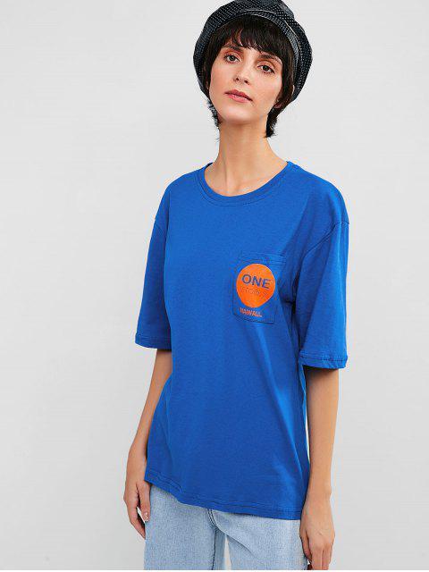 Camiseta casual con bolsillo de túnica con gráfico - Azul Océano  M Mobile