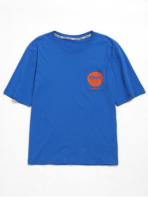 Camiseta casual con bolsillo de túnica con gráfico - Azul Océano  L Mobile