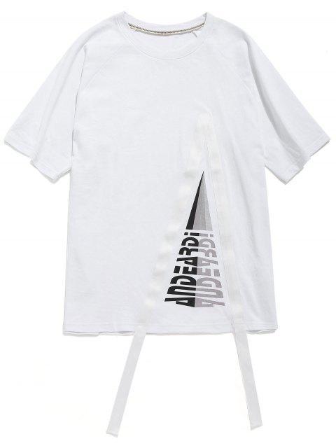Túnica de algodón estampada con mangas raglán - Blanco XL Mobile