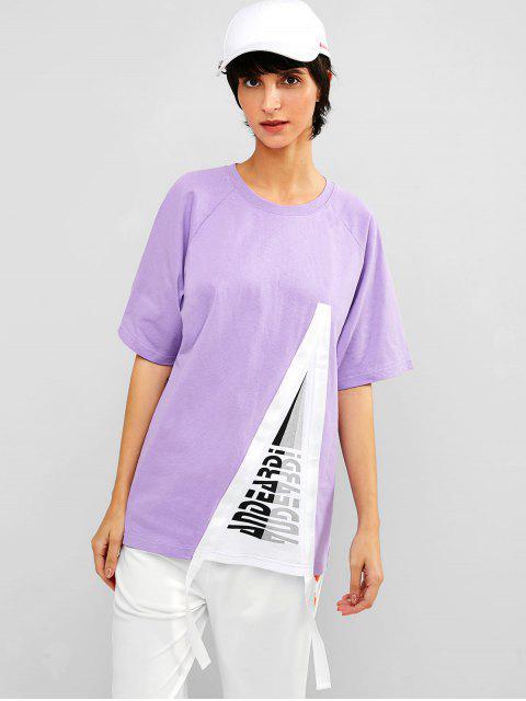 Túnica de algodón estampada con mangas raglán - Mimosa Púrpura XL Mobile