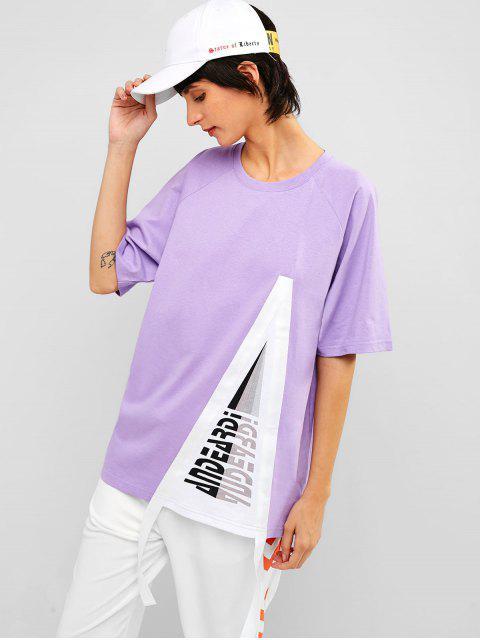Túnica de algodón estampada con mangas raglán - Mimosa Púrpura 2XL Mobile