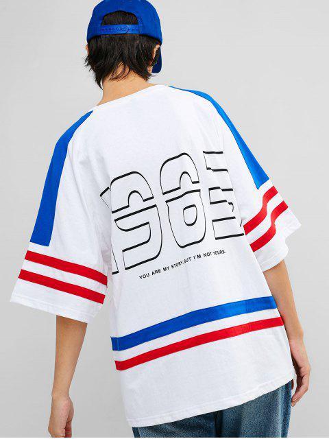 Camiseta de túnica con estampado de rayas de manga raglán - Blanco M Mobile