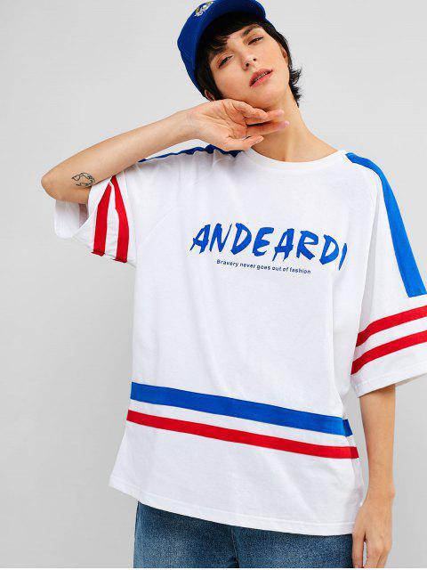 Camiseta de túnica con estampado de rayas de manga raglán - Blanco L Mobile
