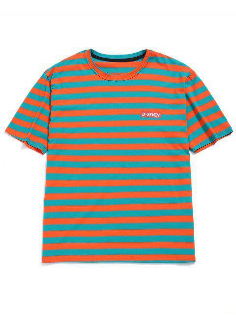 Camiseta con túnica de algodón con rayas en los hombros caídos - Mandarina M Mobile