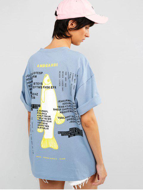Camiseta de túnica con gráfico de carta de pez caído en el hombro - Azul Suave 2XL Mobile