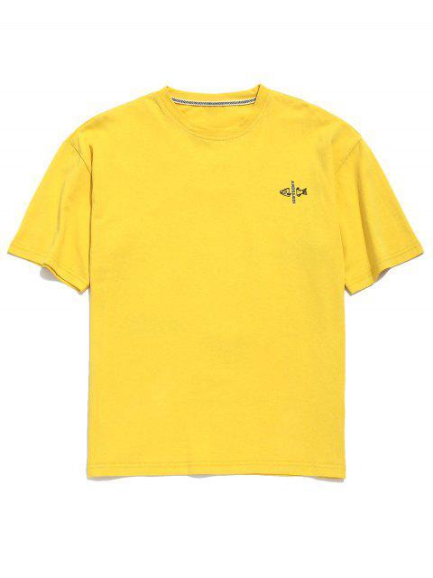 Camiseta de túnica con gráfico de carta de pez caído en el hombro - Amarillo de Sol  M Mobile