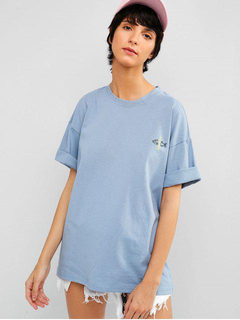 Camiseta de túnica con gráfico de carta de pez caído en el hombro - Azul Suave XL Mobile