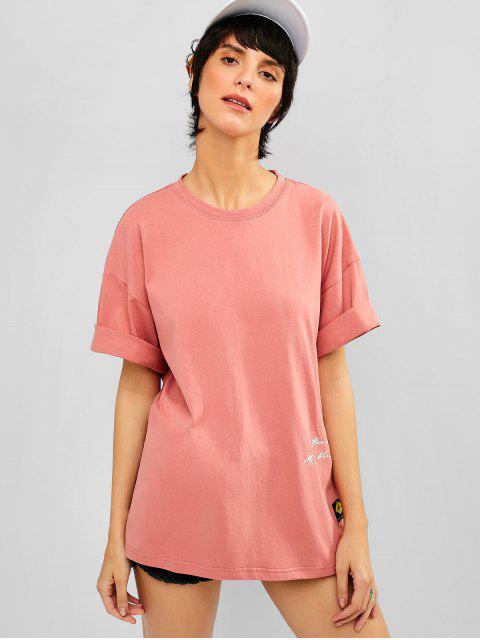 Camiseta Algodón Gráfica Hombro Caído - Coral Claro 2XL Mobile