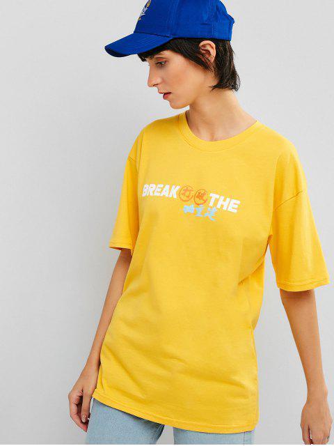 Camiseta Gráfica Casual Túnica - Amarillo S Mobile