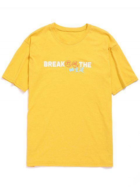Camiseta Gráfica Casual Túnica - Amarillo L Mobile