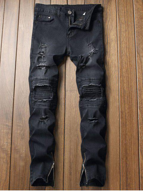 new Destroy Wash Pleated Patchworks Jeans - BLACK 32 Mobile