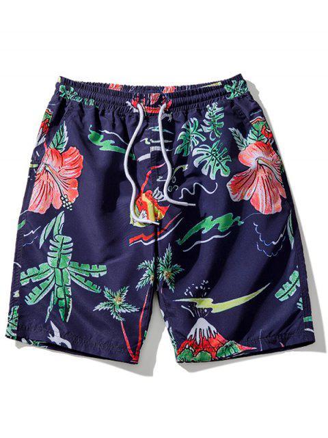 Shorts de playa con estampado floral de hojas - Cadetblue L Mobile