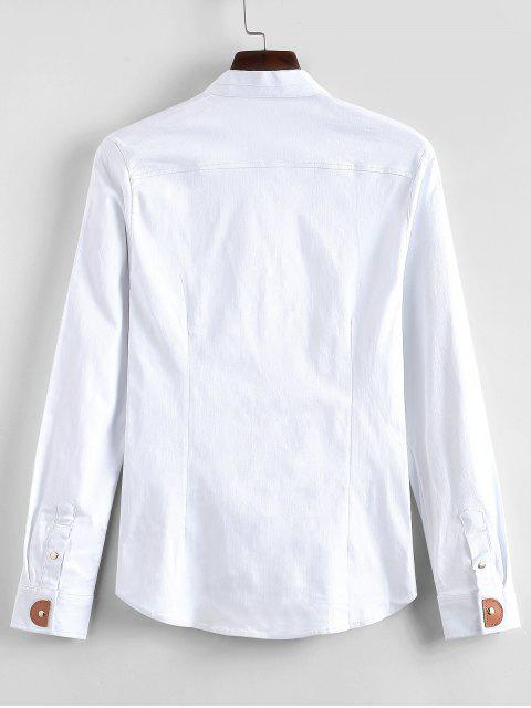 women's Applique Solid Color Slim Fit Shirt - WHITE L Mobile