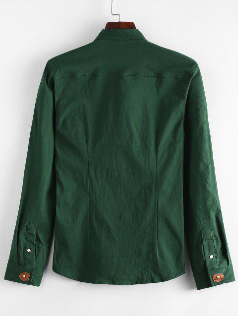trendy Applique Solid Color Slim Fit Shirt - DARK FOREST GREEN L Mobile
