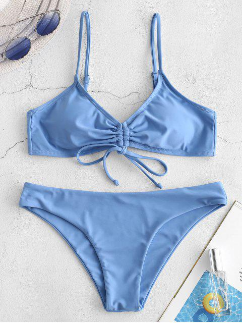 shop ZAFUL Cinched Tie Back Cami Bikini Set - DENIM BLUE L Mobile
