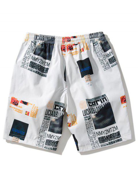 shops Letters Graphic Print Casual Beach Shorts - WHITE XL Mobile