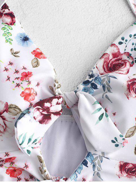 ZAFUL recorte floral Shirred Halter traje de baño - Blanco L Mobile