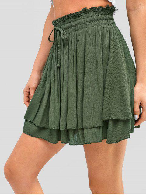 new Drawstring Layered Mini Skirt - ARMY GREEN M Mobile