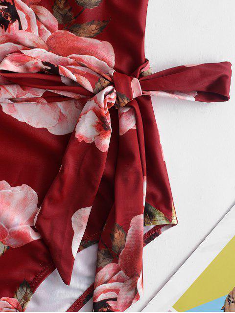 ZAFUL Ruffle Halter Backless Floral traje de baño - Multicolor-A M Mobile
