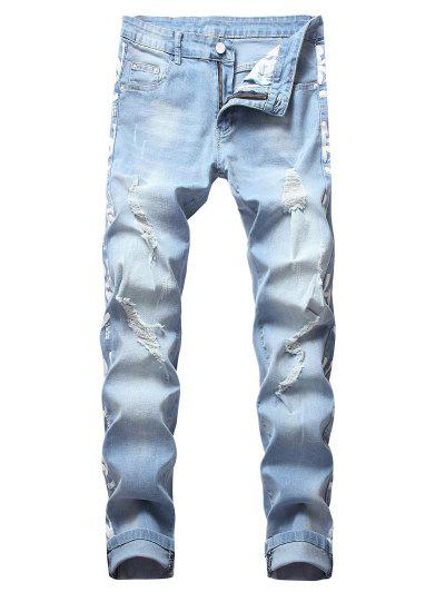 45563ea4d9f Painting Letters Print Long Ripped Jeans - Blue Gray 32 ...