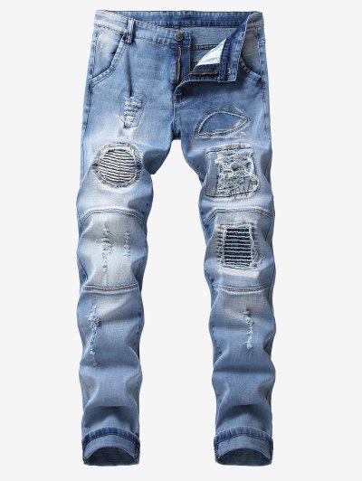 5c04d6d107 Ripped Pleated Patchworks Casual Jeans - Cornflower Blue 32