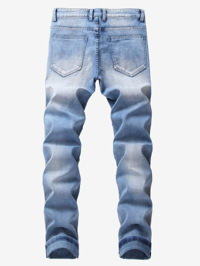 2d4ea1d6991 ... Ripped Pleated Patchworks Casual Jeans - Cornflower Blue 32