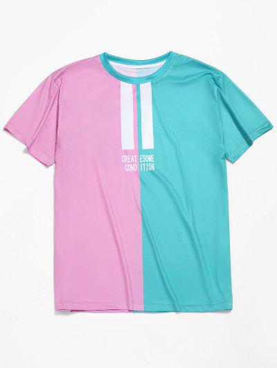 27f93a6fc29 Letters Print Two Tone Casual T-shirt - Multi-a - Multi-a
