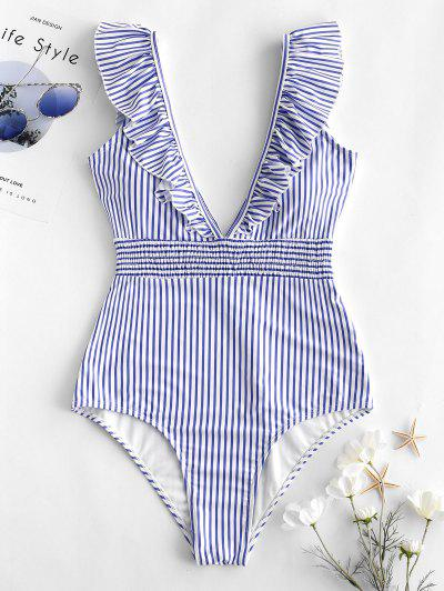 ZAFUL Ruffle Shirred Stripe Swimsuit - Light Sky Blue M