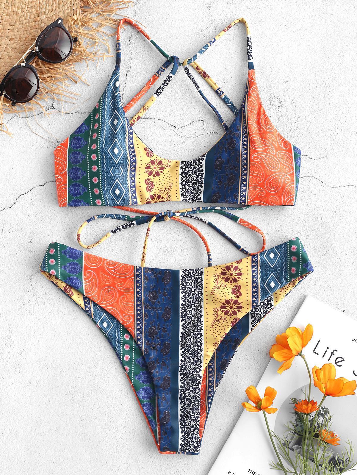 ZAFUL Floral Paisley Strappy Bikini Set thumbnail