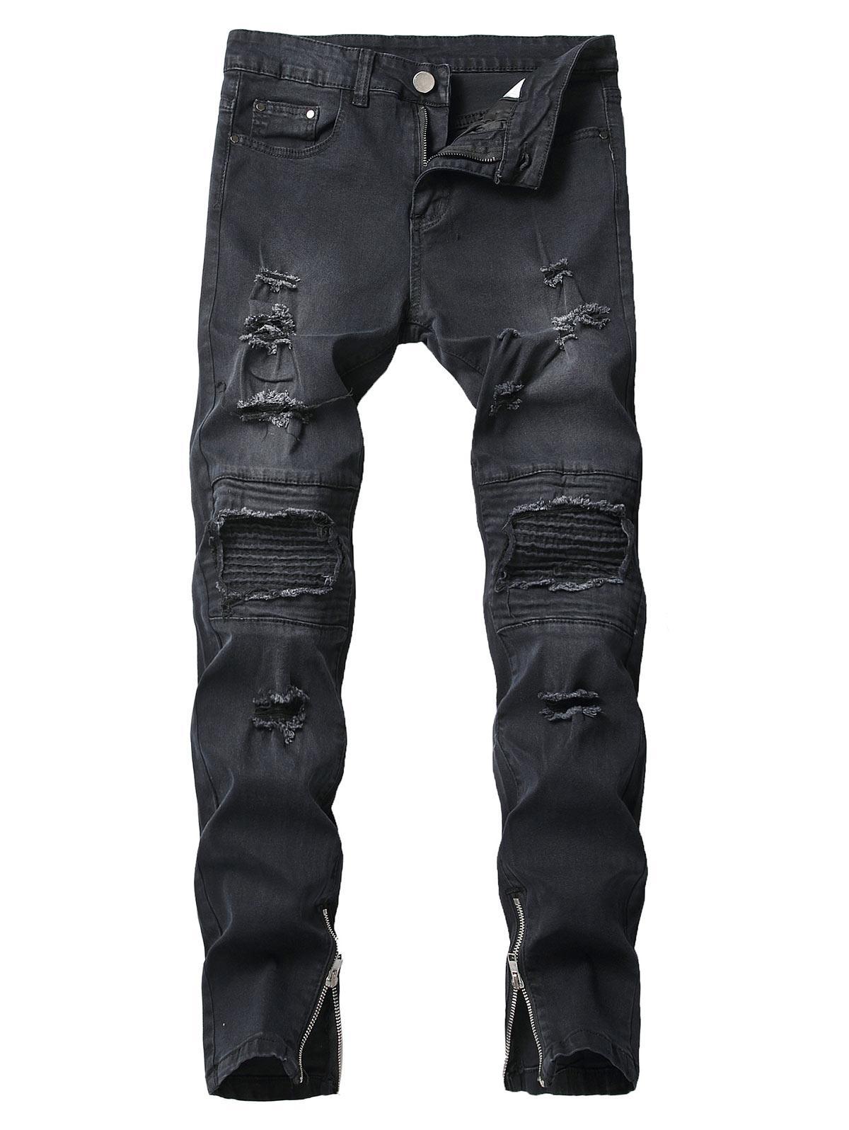 Destroy Wash Pleated Patchworks Jeans, Black