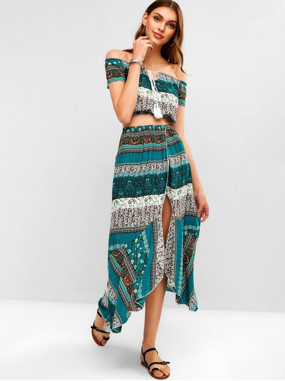 sale Floral Print Tassels Maxi Skirt Set - MACAW BLUE GREEN S