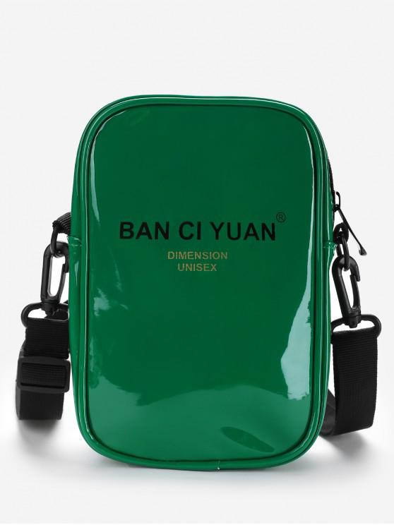 sale Letter Graphic PU Leather Sporty Crossbody Bag - MEDIUM SPRING GREEN