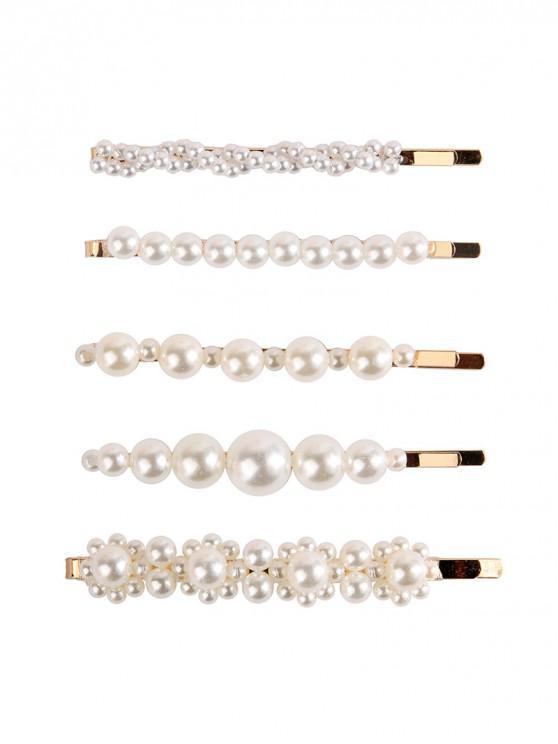 women 5Pcs Faux Pearl Bobby Hair Pin Set - GOLD