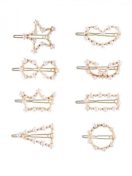 trendy 8Pcs Faux Pearl Heart Hair Grips Set - GOLD