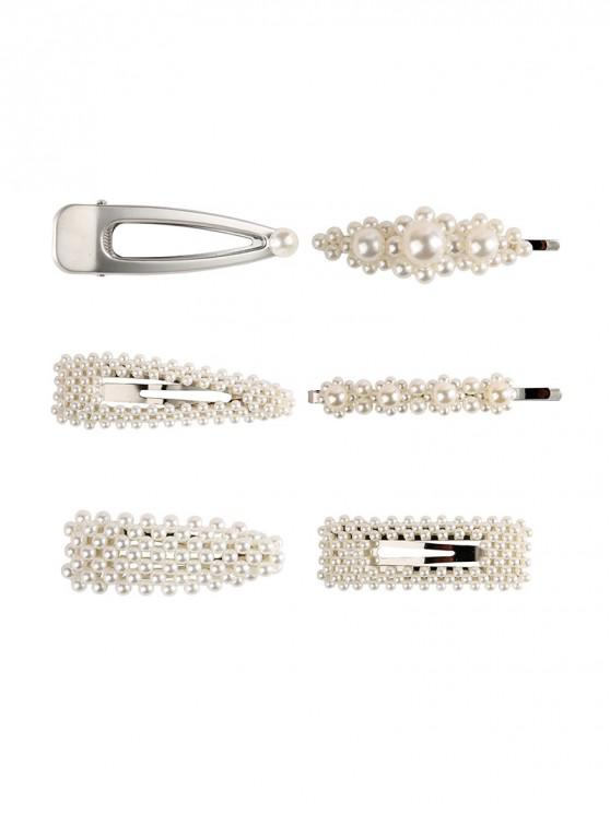fancy 6Pcs Artificial Pearl Hair Grip Set - SILVER
