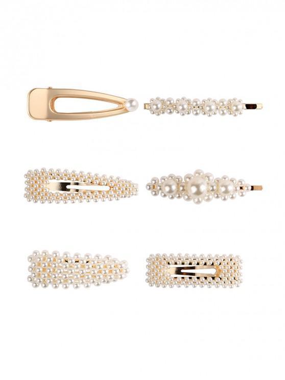 6PCS مجموعة لؤلؤة الشعر الاصطناعية قبضة - ذهب