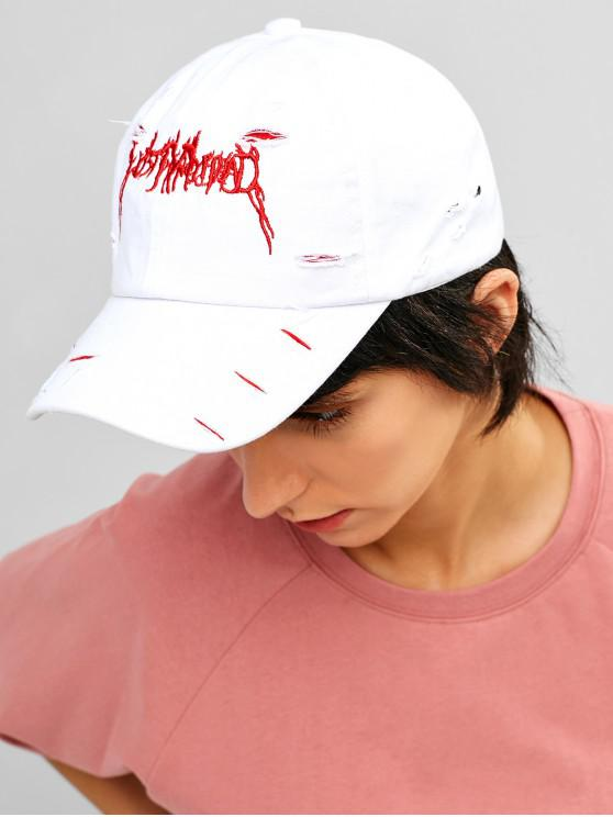 sale Sporty Ripped Embroidered Baseball Cap - WHITE