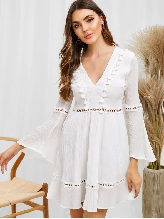 best Hollow Out Flare Sleeve Plunging Dress - WHITE L
