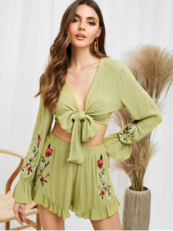 hot ZAFUL Floral Embroidered Top and Shorts Set - AVOCADO GREEN XL