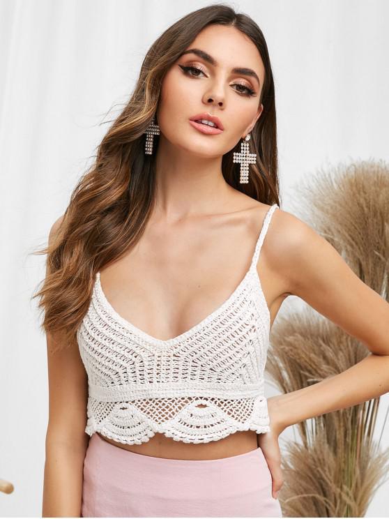latest Cami Scalloped Crochet Tank Top - MILK WHITE ONE SIZE