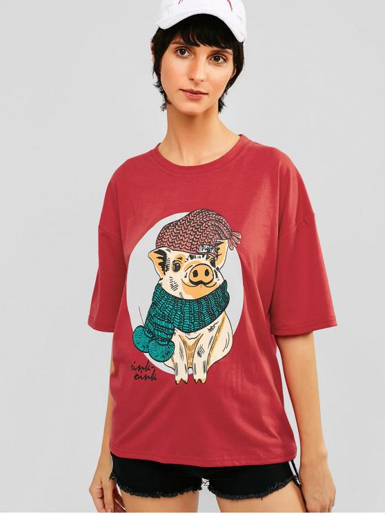 shop Pig Graphic Drop Shoulder Tunic Tee - RED L