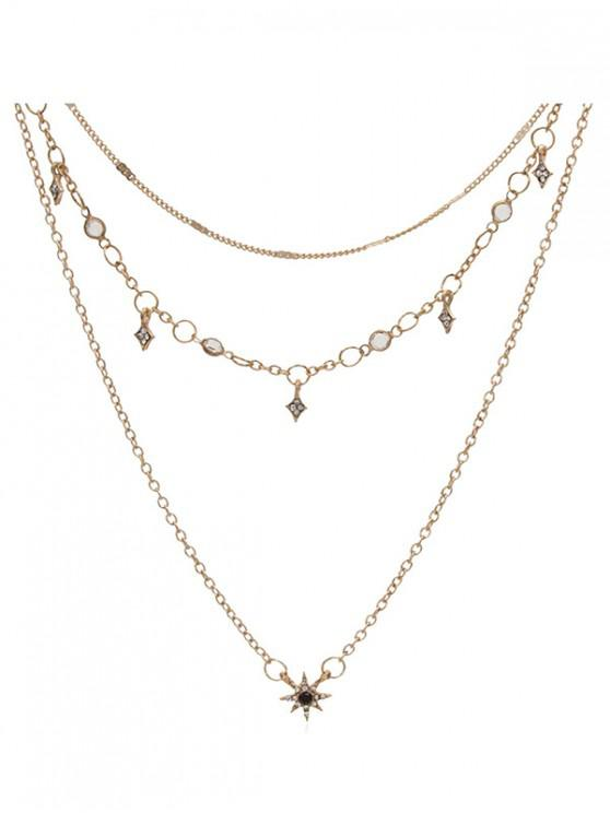 online Star Layered Chain Necklace - GOLD