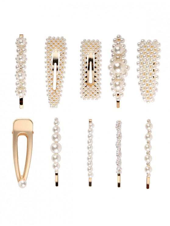 new 10Pcs Artificial Pearl Hair Pin Set - GOLD