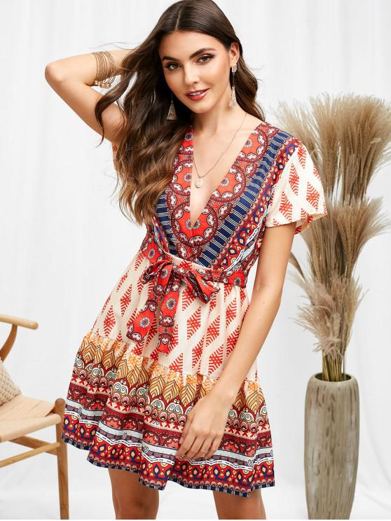 lady Belted Surplice Plunge Print Dress - MULTI M