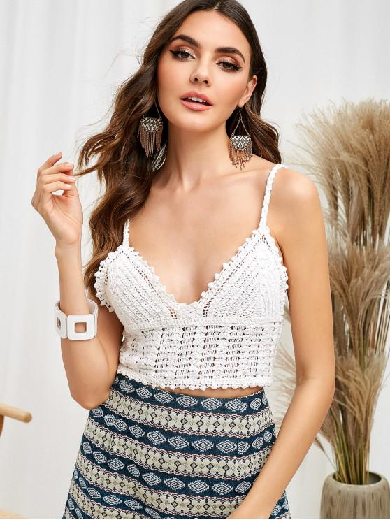 latest Unlined Crochet Cami Crop Top - WHITE ONE SIZE