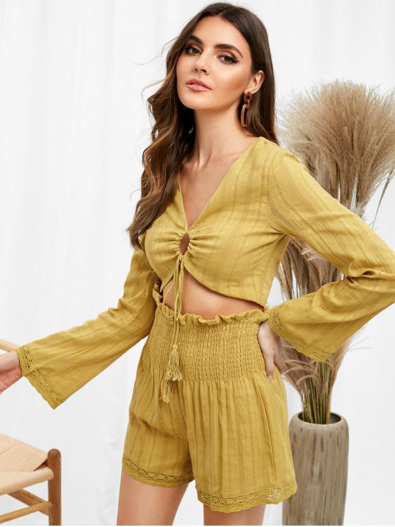 shops Embroidered Gauzy Top Shorts Co Ord Set - MUSTARD L