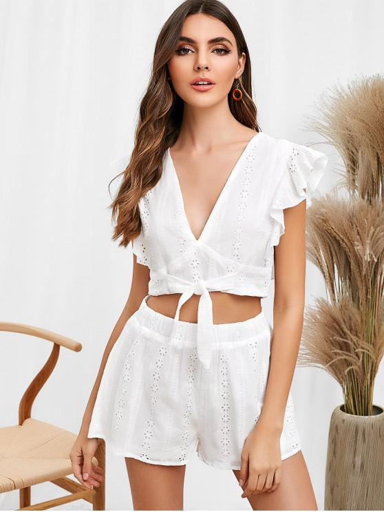 outfit Ruffles Knotted Eyelet Shorts Set - WHITE L