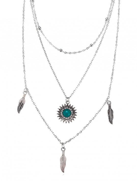 unique Feather Sun Shape Layered Necklace - SILVER