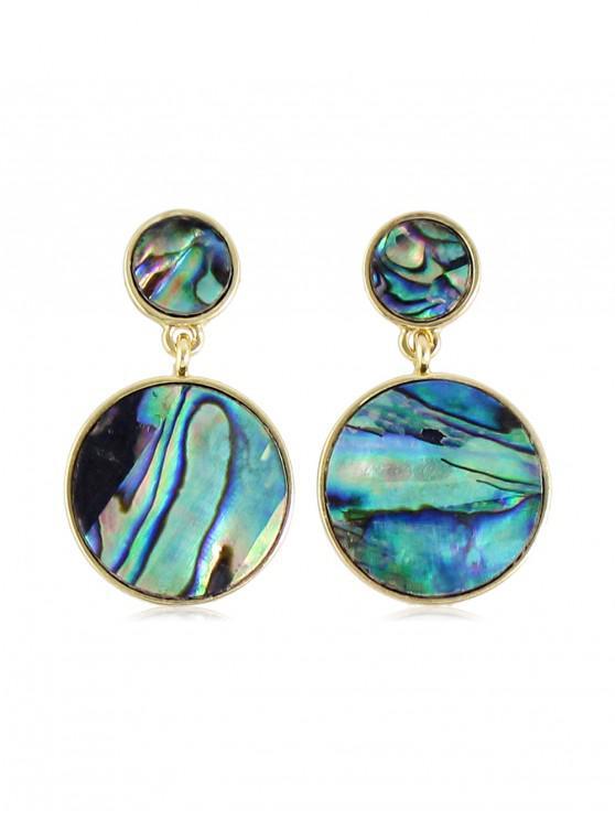 women Round Shell Pattern Drop Earrings - GOLD